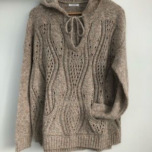 Maurice's Knit Beige Hooded Chunky Pullover